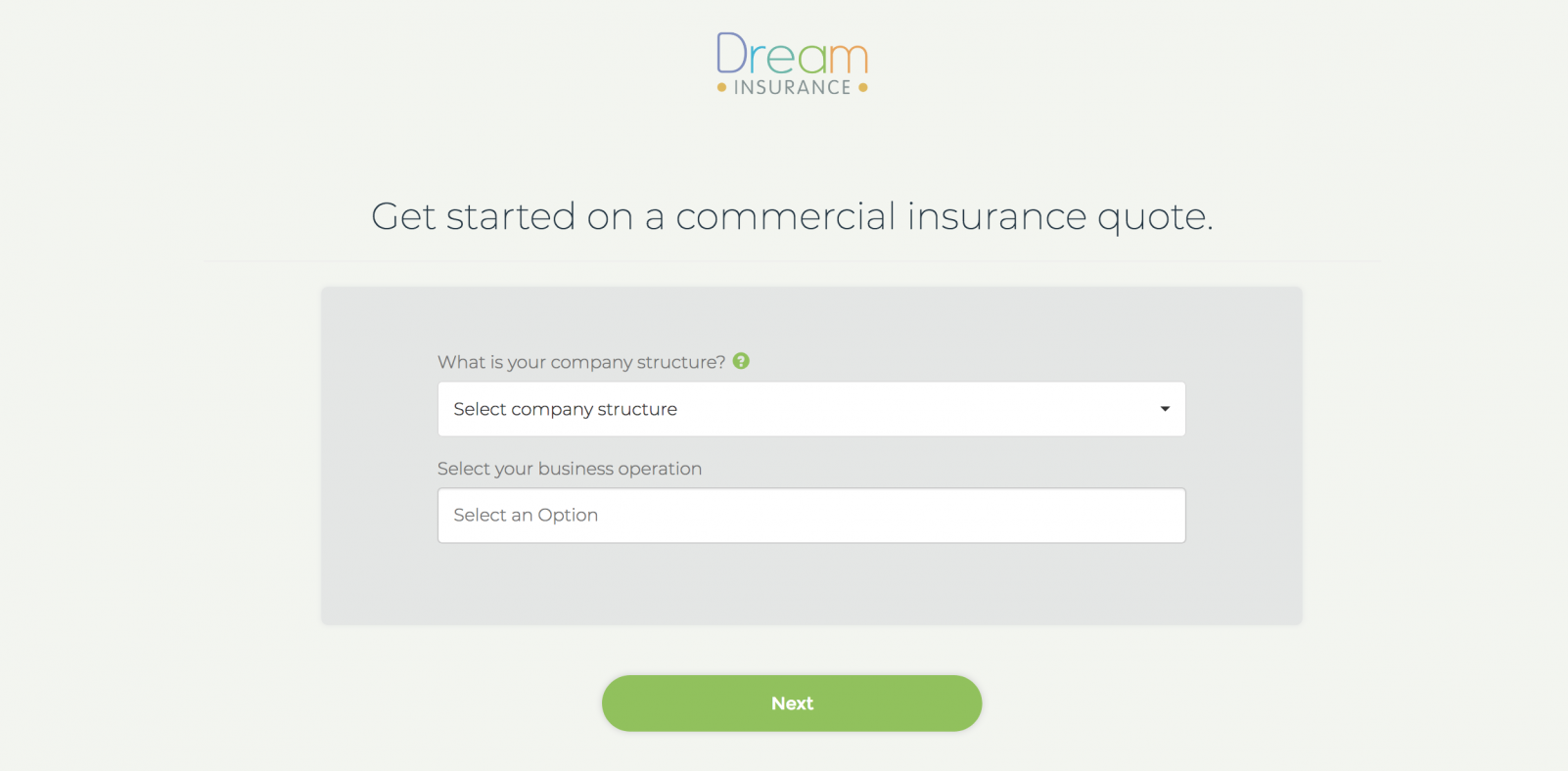 Commercial Quoter – Dream Insurance