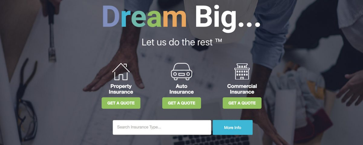 Dream Insurance Homepage - Commercial Insurance Added!